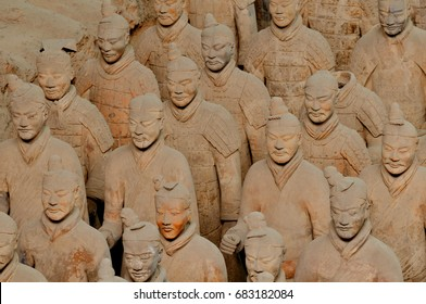 Figures of the Terracotta Warriors Army in Xian, Republic of China, Asia.