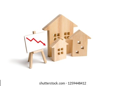 Figures Wooden houses and red arrow down. The concept of falling prices and demand for real estate, crisis and recession, the fall in the rate of construction of new housing and buildings. Low quality