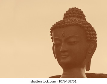 figurine of Buddha against sepia background