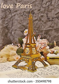 Figurine of The Eiffel Tower ,vintage style - painting HDR image processed in hardware