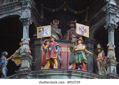 Figurines in the clock on the town hall building of Marienplatz in Munich, Germany