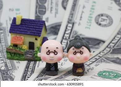 Figurines of an elderly couple at home on a background of money.