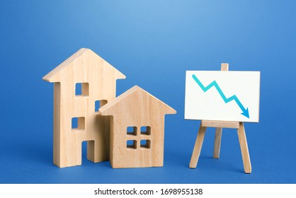 Figurines of houses and down arrow chart negative trend easel. Big promotions and discounts on home sales. Special purchase offers. Low demand for real estate and housing, economic downturn recession.