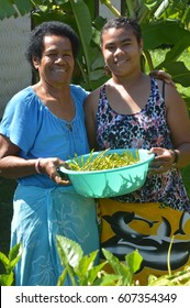 FIJI - DEC 25 2016:Indigenous Fijian mother and daughter collect together vegetables.Indigenous Fijians are the indigenous people of Fiji Islands arrived from western Melanesia about 3,500 years ago