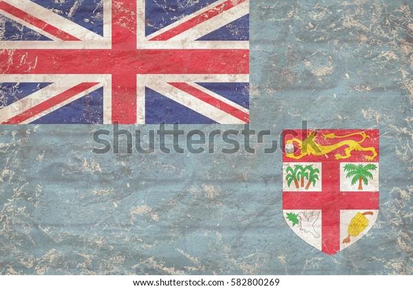 Fiji flag background  on bricks