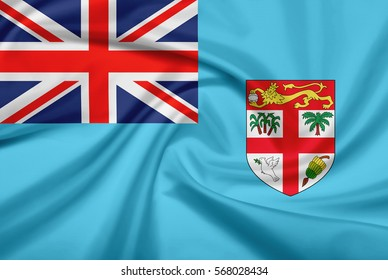 Fiji Flag With Fabric Texture Of 3D Illustration