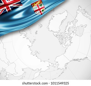 Fiji map images stock photos vectors shutterstock fiji flag of silk and world map background 3d illustration gumiabroncs Gallery