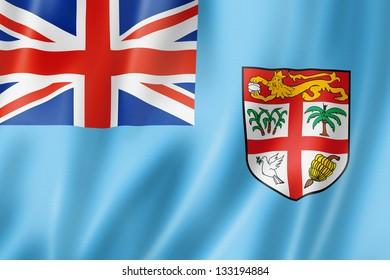 Fiji Flag Three Dimensional Render Satin Texture