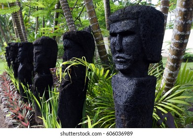 FIJI - JAN 06 2017:Polynesian human figures sculptures in Fiji Islands.They are symbols of authority and power, both religious and political charged by a magical spiritual essence called mana.