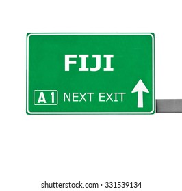 FIJI road sign isolated on white