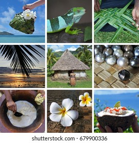 Fijian collage. Travel Fiji postcard background.