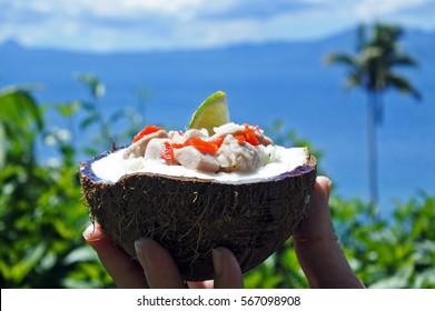 Fijian Food, Kokoda (Raw Fish Salad) against Tropical Island landscape. Kokoda is Fiji's version of ceviche, enriched with coconut milk to balance out all the acid.