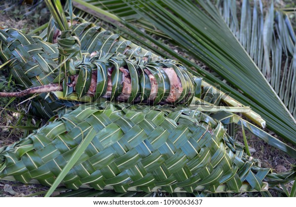 Fijian food Lovo Fiji. Food background and texture