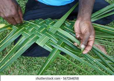 Fijian men create a basket from weaving a Coconut Palm leaves.Travel Fiji culture. Real people copy space