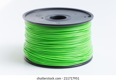 Filament for 3D Printer in light green against a bright background.