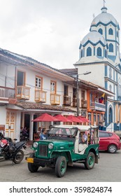 FILANDIA, COLOMBIA - SEPTEMBER 7, 2015: Willys Jeeps are an important part of rural transportation in Colombia.