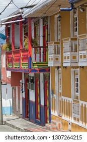 Filandia, Colombia- September 9, 2018: brightly coloured buildings are giving the popular tourist town a unique look