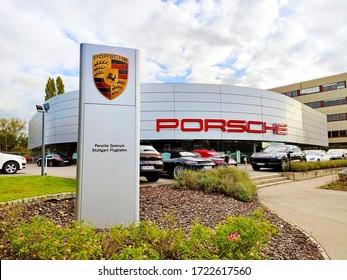 Filderstadt, Germany - October 03, 2019: Porsche Center Filderstadt at Stuttgart-Airport