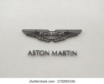 Filderstadt, Germany - October 03, 2019: Logo of the british luxury sports car manufacturer Aston Martin founded in 1913.