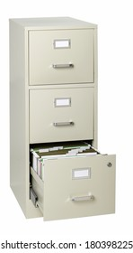 file cabinet with drawer open on white background