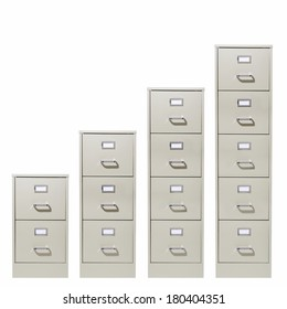 File cabinets of increasing size on white background