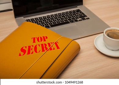 file with confidential data on the corporate desk