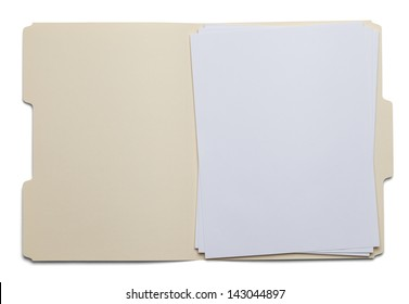 File Folder with Blank White Paper Isolated on White Background.