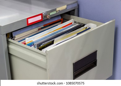 file folder documents In a file cabinet retention concept business office equipment