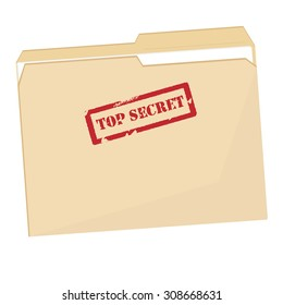 File folder with red rubber  stamp top secret vector isolated, confidential, private information