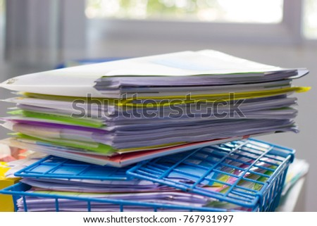 desk office file document paper 6 pack file folder and stack of business report paper on the desk in an office file folder business report paper stock photo edit now