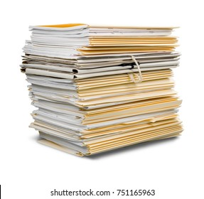 File folders with documents isolated on white background