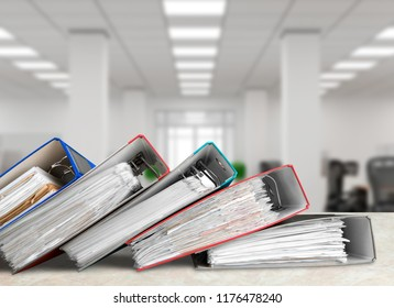File folders with documents on background