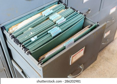 File folders in a filing cabinet