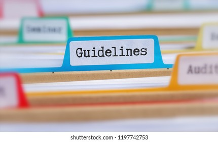 File folders with a tab labeled Guidelines