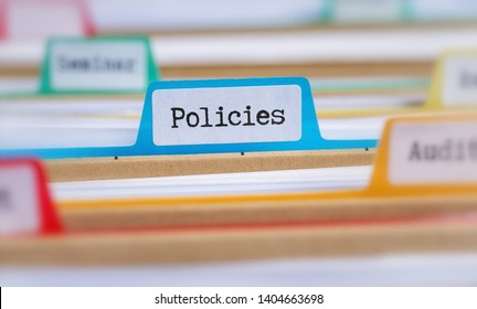 File folders with a tab labeled Policies
