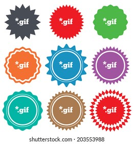 File GIF sign icon. Download image file symbol. Stars stickers. Certificate emblem labels.