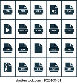 File icons set with mpeg4, file, data and other svg elements. Isolated  illustration file icons.
