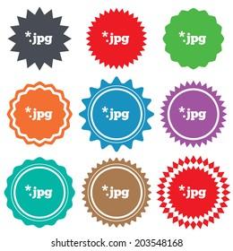 File JPG sign icon. Download image file symbol. Stars stickers. Certificate emblem labels.