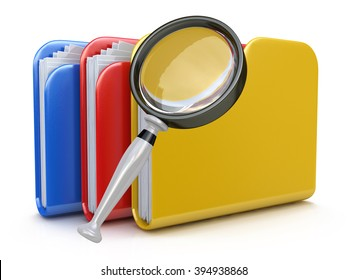 File search concept: folders and magnifying glass in the design of information related to computer technology