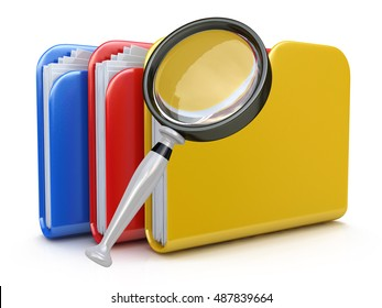 File search concept: folders and magnifying glass in the design of information related to computer technology. 3d illustration