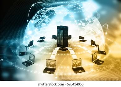 File sharing concept, Data transferring on digital background. 3d render