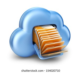 File storage in cloud. 3D computer icon isolated on white background