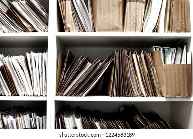 Files on shelf organized for office work legal or medical