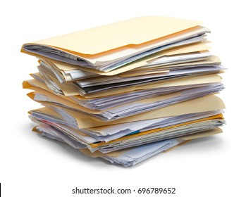 Files Stacked in a Pile Isolated on White Background.