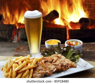filet grilled chicken with beer