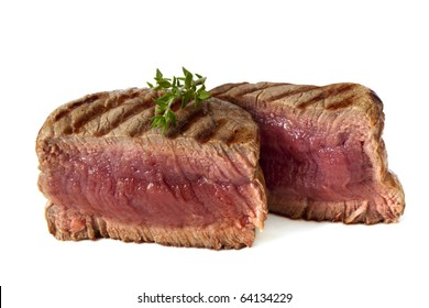 Filet mignon, char-grilled to medium rare.  Isolated on white.