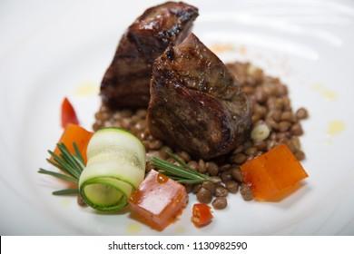 Filet mignon with lentils