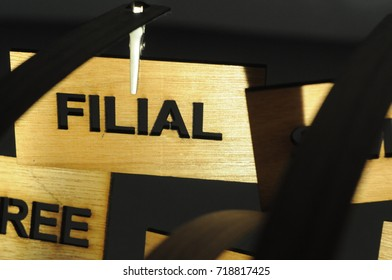 FILIAL on a wooden sign, photograph Aspirations word