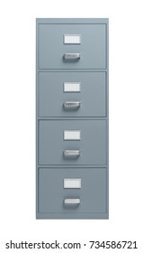 Filing cabinet on white background, office furnishing and data storage concept