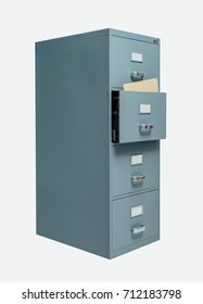 Filing cabinet with open drawer on white background, data storage and administration concept